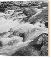 Flowing St Vrain Creek Black And White Wood Print