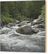 Flowing Stream In Vermont Wood Print