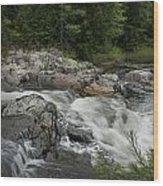 Flowing Stream With Waterfall In Vermont Wood Print