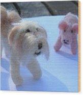 Fluffums - Lhasa Apso Tibetan Terrier And Piglet Wood Print