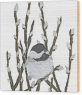Chickadee Art Hand-torn Newspaper Collage Art By Keiko Suzuki Bless Hue Wood Print