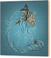 Fluffy Gray Cat In Profile Wood Print
