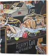 Fluffy's Cafe Wood Print