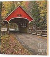 Flume Gorge Covered Bridge Fall Colors Wood Print