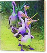 Fluorescent Pelicans Wood Print