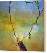 Fly Catcher In Heart Shaped Branch Wood Print