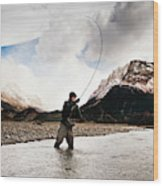 Fly Fishing At The Base Of Fitz Roy Wood Print