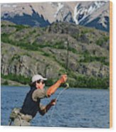 Fly Fishing In Patagonia Wood Print
