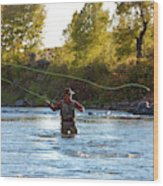 Fly Fishing Wood Print
