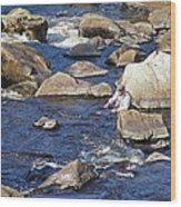 Fly Fishing On Mountain River Wood Print