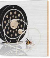 Fly Fishing Reel With Fly Wood Print by Tom Mc Nemar