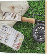 Fly Fishing Rod And Asessories Wood Print