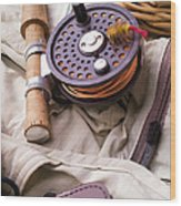 Fly Fishing Still Life Wood Print
