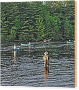 Fly Fishing West Penobscot River Maine Wood Print