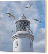 Fly Past - Seagulls Round Southwold Lighthouse - Square Wood Print