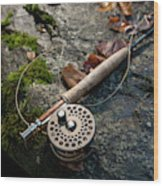 Fly Rod And Reel Detail On Mossy Wet Wood Print