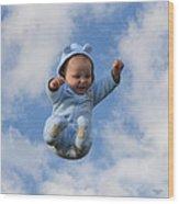 Flying Baby Wood Print