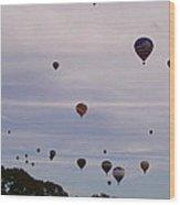 Flying Balloons Wood Print