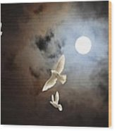 Flying By Moonlight Wood Print