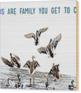 Flying Ducks And A Friends Quote Wood Print