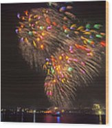 Flying Feathers Of Boston Fireworks Wood Print