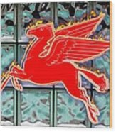 Flying Fire Horse Wood Print