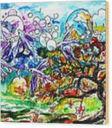 Flying Fish Tree And Bubbles Wood Print