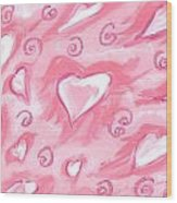 Flying Hearts Wood Print by Atlanta Carrera