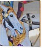 Flying Horses On The Carousel Wood Print