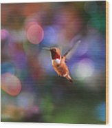 Flying Hummingbird And Bokeh Wood Print