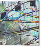 Flying Inside Ferris Wheel Wood Print