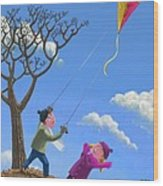 Flying Kite On Windy Day Wood Print by Martin Davey