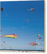 Flying Kites At St Augustine Beach Pier Wood Print