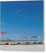 Flying Kites From The Pier Wood Print