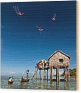 Flying Kites Wood Print