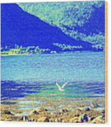Seagull Flying Low, Mountains Standing Tall  Wood Print