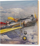 Flying Pig - Plane - The Joy Ride Wood Print by Mike Savad