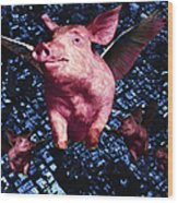 Flying Pigs Over San Francisco - Square Wood Print