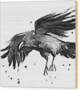 Flying Raven Watercolor Wood Print