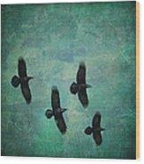Flying Ravens Wood Print