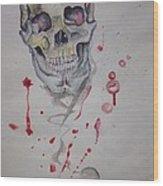 Flying Skull Wood Print by Erik Franco