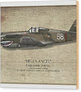 Flying Tiger P-40 Warhawk - Map Background Wood Print