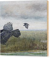 Flying To The Roost Wood Print