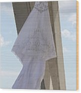 Flying Wedding Dress 2 Wood Print