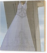 Flying Wedding Dress 3 Wood Print
