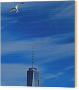 Flyover One World Trade Center Wood Print