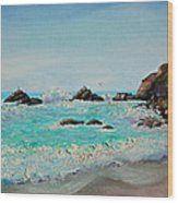 Foamy Ocean Waves And Sandy Shore Wood Print