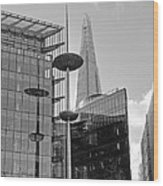 Focus On The Shard London In Black And White Wood Print