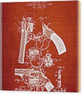 Foehl Revolver Patent Drawing From 1894 - Red Wood Print