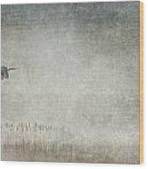 Fog And Blue Heron Wood Print